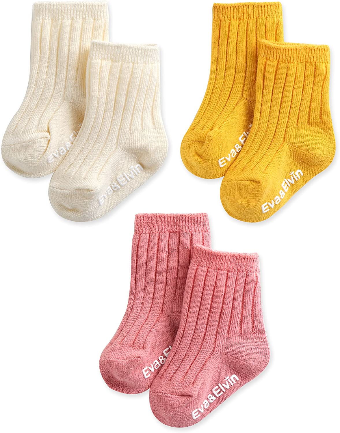 Eva/&Elvin by Vaenait Baby 3 Pairs Girls Kids Anti-Skid Socks Run run Girl