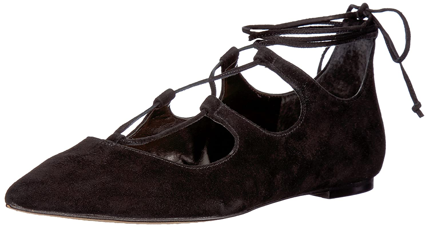 Vince Camuto Womens EMMARI Pointed Toe Ankle Wrap Ballet Flats B01BF1DXXS 10 B(M) US|Black
