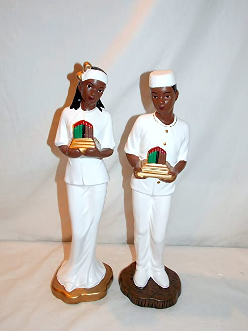 """New 2pc 14/"""" African American Couple Holding Kwanzaa Candles Figure Statue"""
