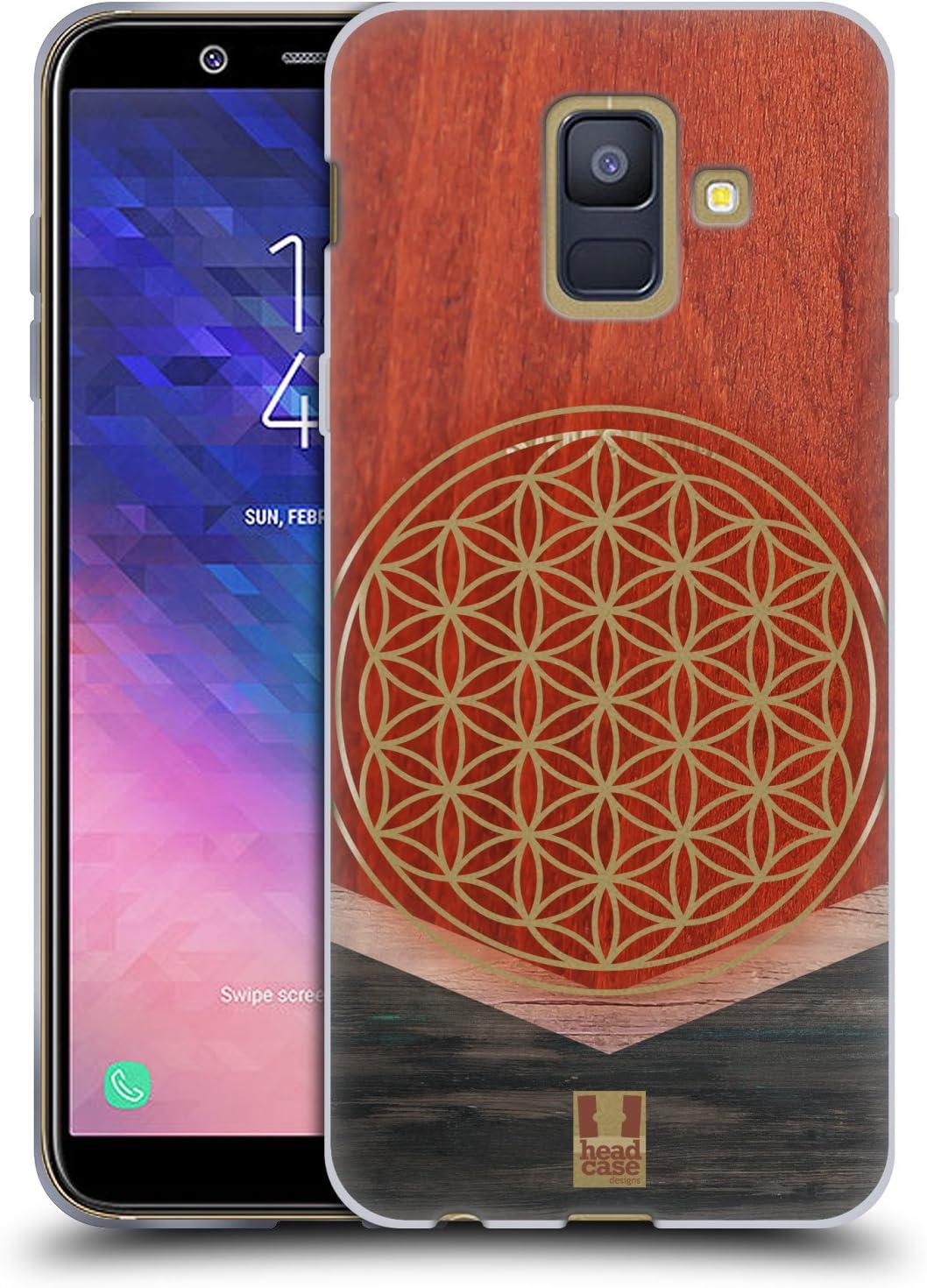 Head Case Designs Flor De La Vida Estampados geométricos de Madera Carcasa de Gel de Silicona Compatible con Samsung Galaxy A6 (2018)