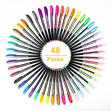 48 Colores Bolígrafos de Gel para colorear adultos - Incluye purpurina, metálico, neón y