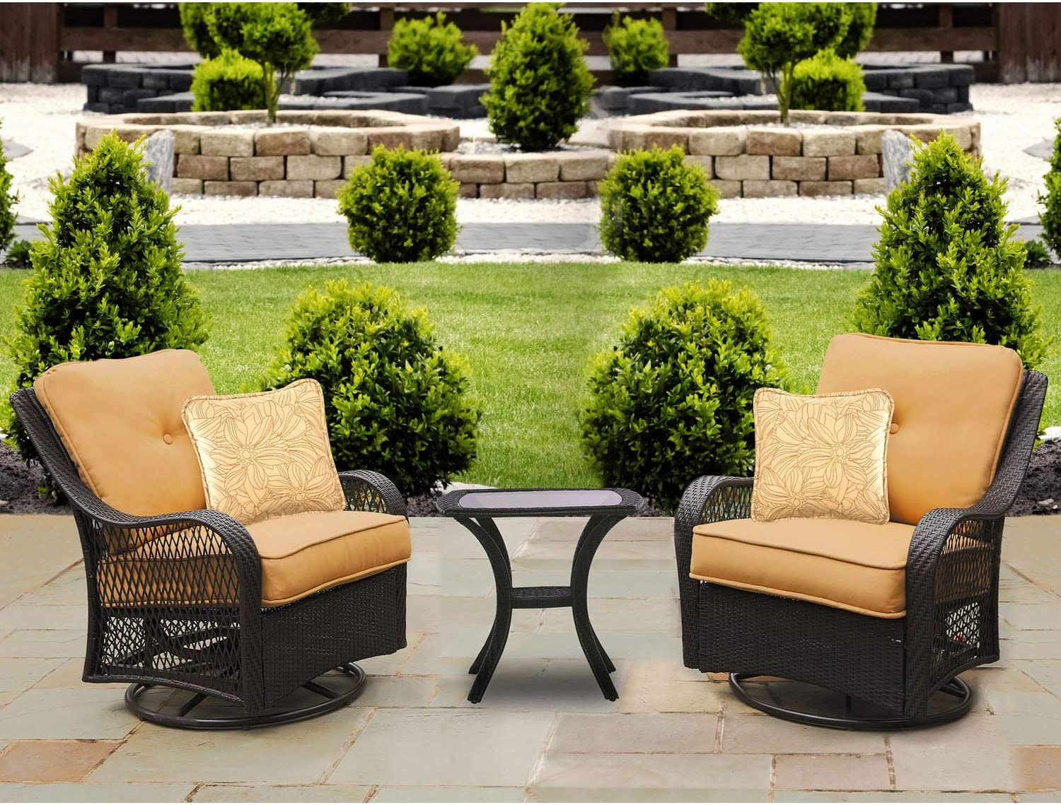 Hanover ORLEANS3PCSW-B-TAN Sahara Sand Orleans 3-Piece Swivel Gliding Chat Set