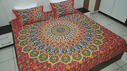 Amazoncom Fairdecor Red Mandala Duvet Cover Queen Size Blanket