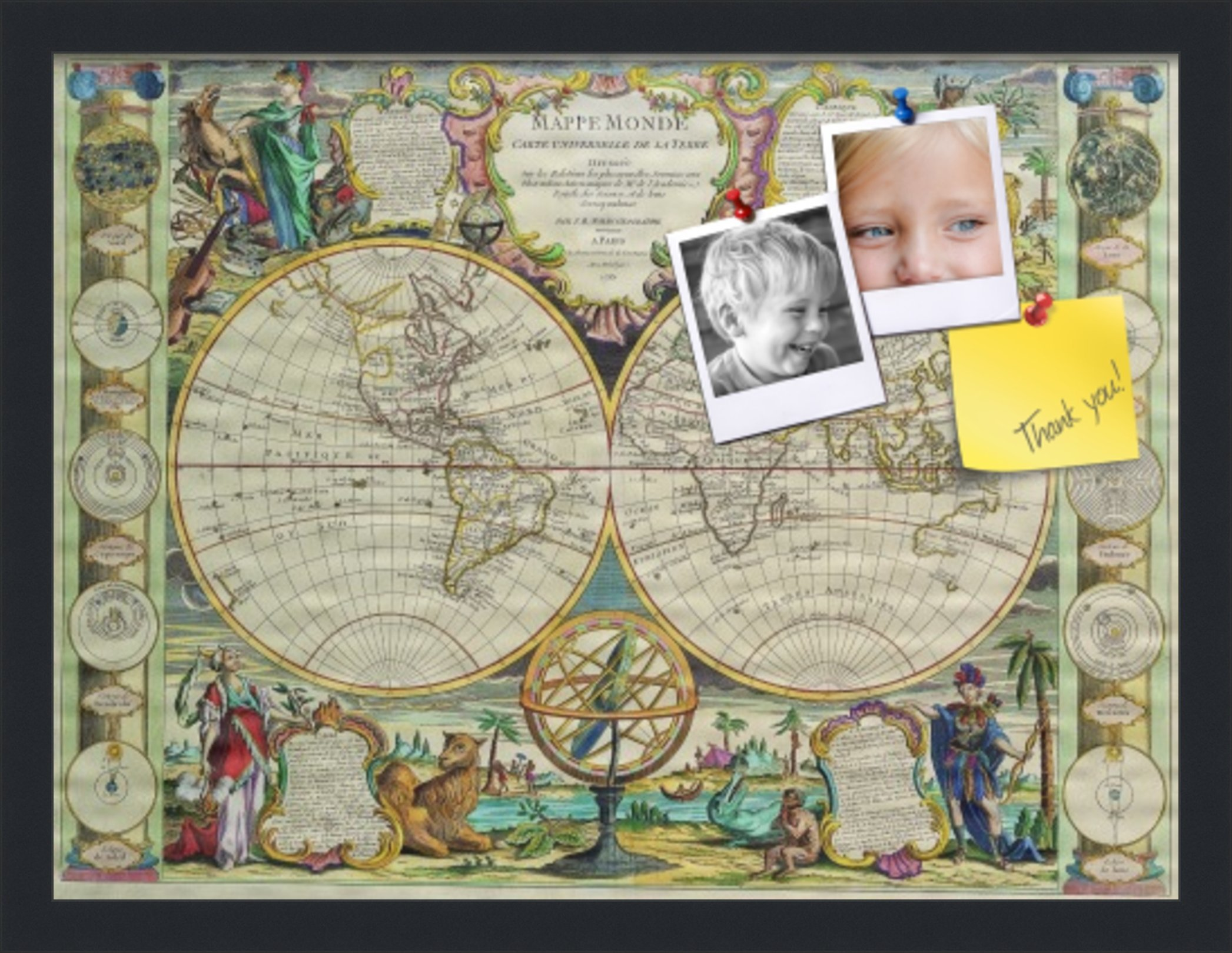 PinPix pin Cork Bulletin Board Made from Canvas, World Map 21 x 16 Inches (Completed Size) and Framed in Satin Black (PinPix-656) by PinPix