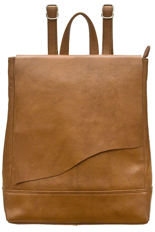 ili 6501 Leather Raw Edge Backpack Handbag (Antique Saddle)