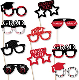 product image for Big Dot of Happiness Red Grad Glasses - Best is Yet to Come - Red 2021 Paper Card Stock Graduation Party Photo Booth Props Kit - 10 Count