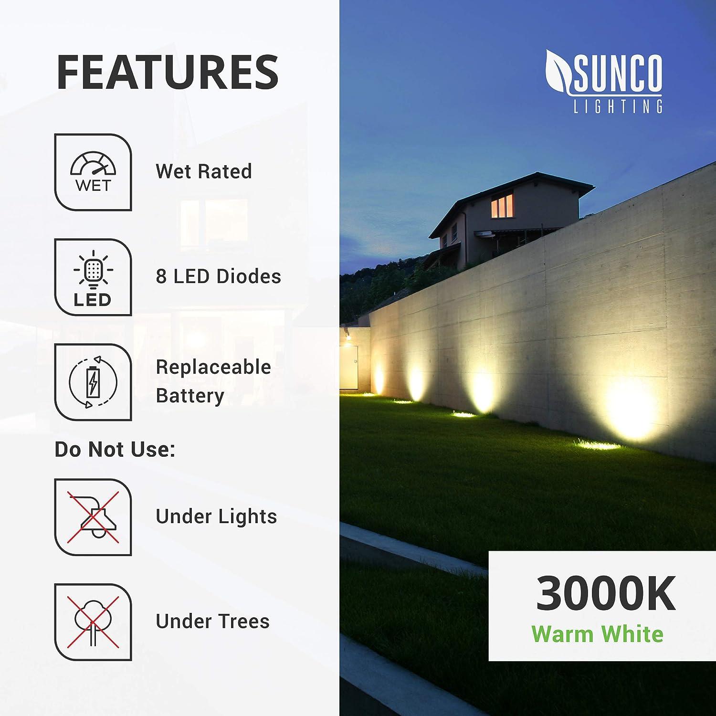 Sunco Lighting 12 Pack Solar Path Lights RoHS//CE Solar Powered LED Landscape Lighting Dusk-to-Dawn 6000K Cross Spike Stake for Easy in Ground Install