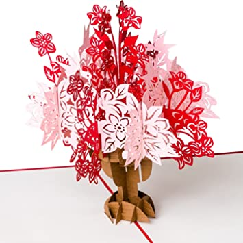 Muttertag Karte.Muttertag Karte Rosa Roter Blütenstrauß Xxl 3d Pop Up Karte Diverse Anlässe Geburtstagskarte Glückwunschkarte Grußkarte Dankeschön