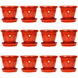 Gamla / Planter / Pot 8-inch (pack of 12 Pots) (Red / terracotta colour pot)with Bottom plate / tray (12 PC's)  (tray colour terracotta /red) For garden Balcony Flowering Pot by Kraft Seeds