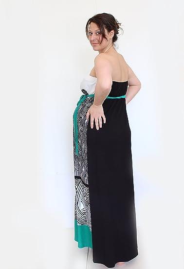 Maternidad Jersey Vestido, Maxi vestido de verano, vestido de maternidad sin tirantes, vestido de fiesta, Mia maternidad negro black, white print Talla:S: ...