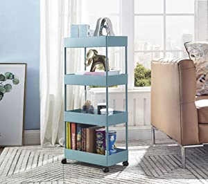 bigzzia Utility Cart, 4 Tier Slim Storage Cart Kitchen Bathroom Mobile Shelving with Moving Wheels Multifunction Organizer Trolley Mesh Basket Shelf for Office Library Narrow Places (Blue)