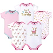 Hudson Baby Unisex Baby Cotton Bodysuits, Little Llama Pack, 6-9 Months (9M)