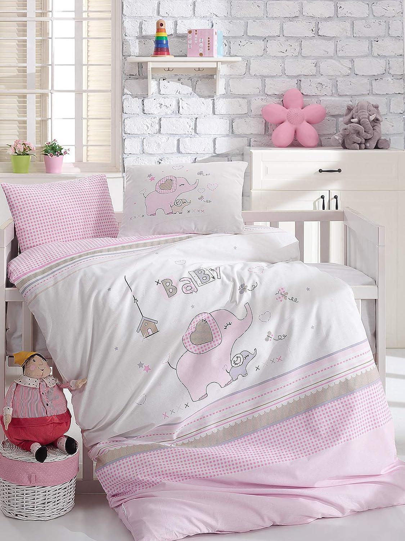コットン100% ベビーボーイズ寝具5点セット ベビー掛け布団カバーセット ベビー掛け布団 象がテーマのベビーベッド寝具セット ピンクホワイト   B07GFFLLRN