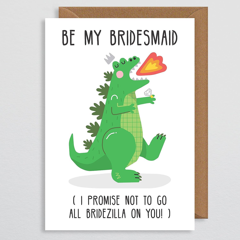 Bridesmaid Card Funny Bridezilla Gift Godzilla Will