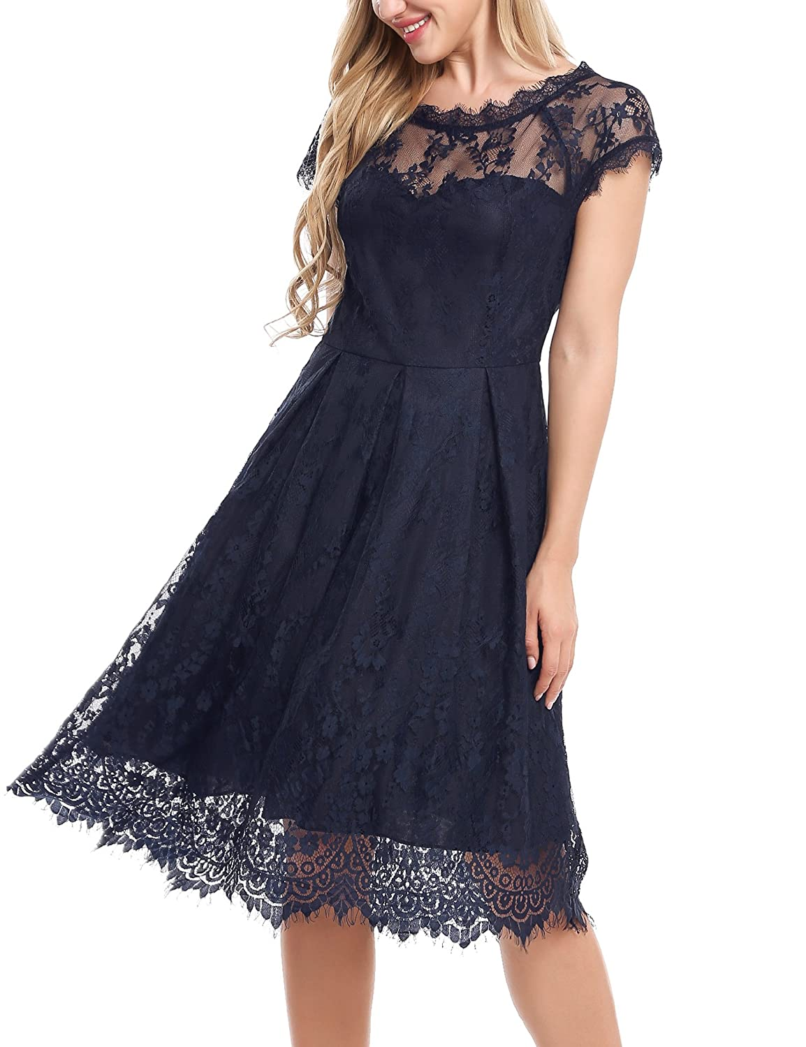 5bfd03ef8766 Design:Cap Sleeve Sheer Lace,A-Line Pleated Hem,Knee Length Lace Hollow  Out,Back See-through. Floral Lace Dress Which Can be ...