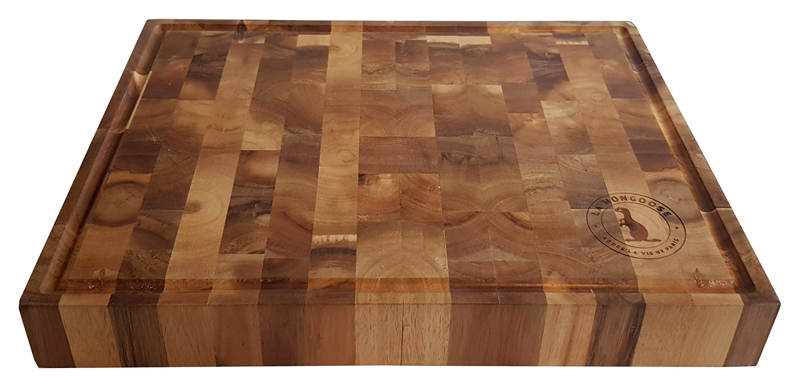 Extra Large Thick Acacia Wood Cutting Board 17 x 13 x 2 inches by La Mongoose. Juice Groove and Hand Grips Reversible Anti Microbial Solid Sturdy End Grain Butchers Block Chopping Serving Tray Platter by La Mongoose (Image #8)