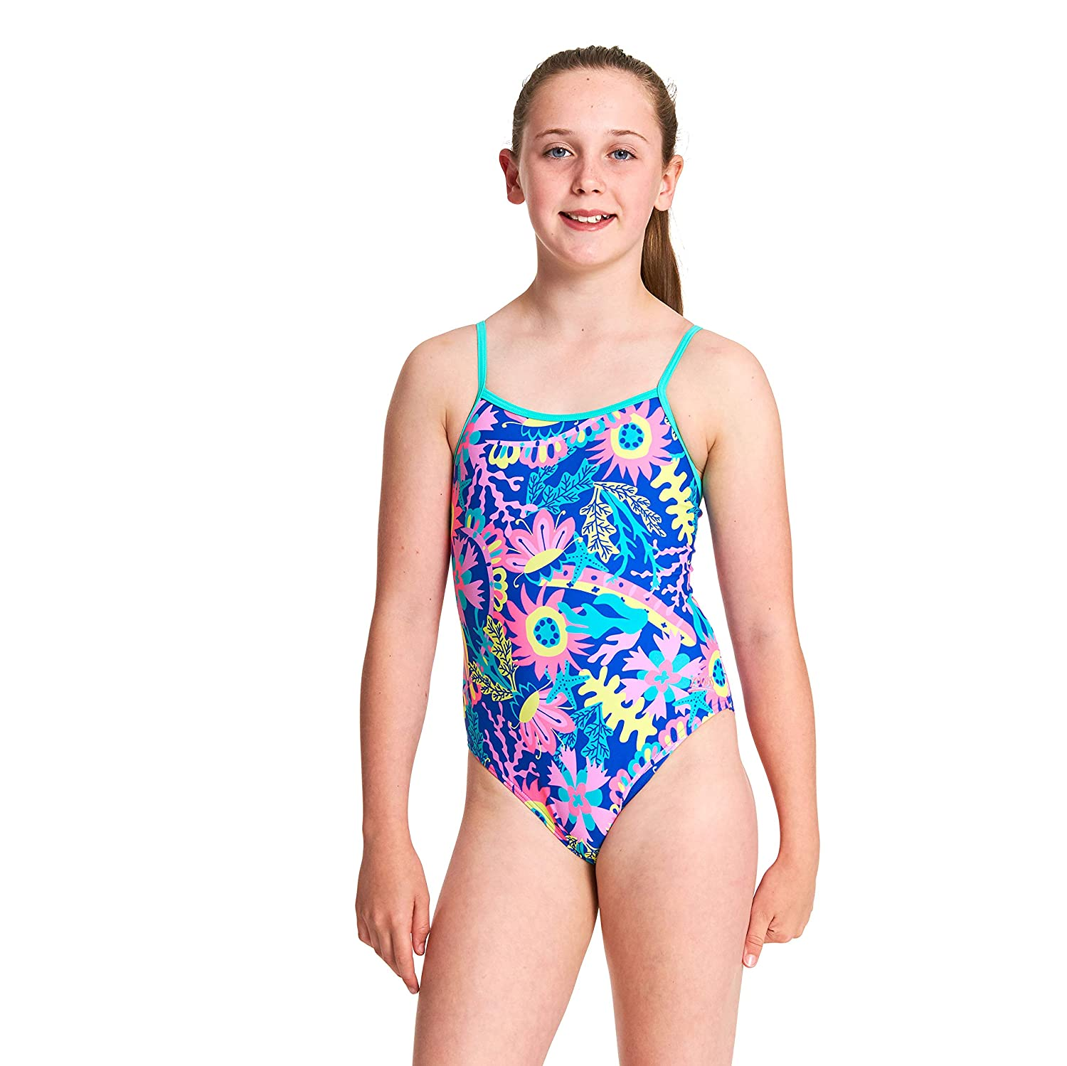Zoggs Girls Ocean Play Yaroomba Floral One Piece Swimsuit