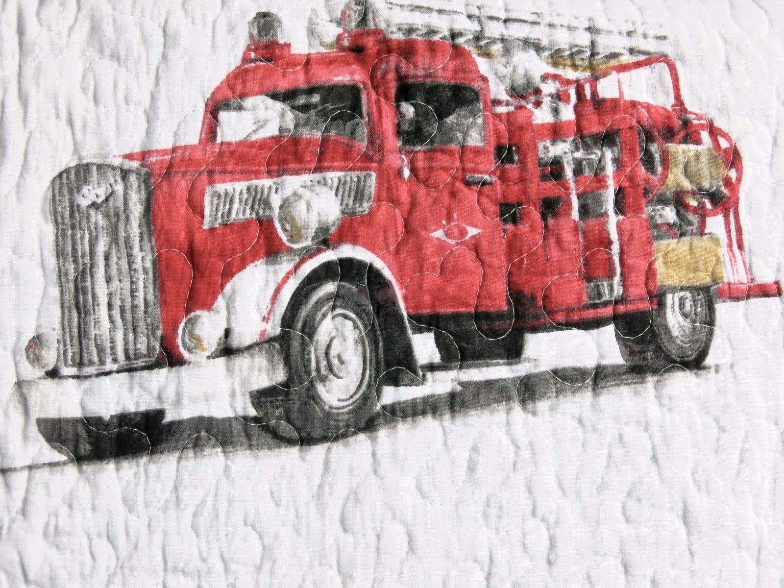 3-pc Vintage FIRE ENGINE / FIRE TRUCK Quilt Set - Full /Queen (set includes 2 shams) Reversible