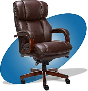 product image for La-Z-Boy Fairmont Big and Tall Executive Office Chair with Memory Foam Cushions, High-Back with Solid Wood Arms and Base, Bonded Leather, Big & Tall, Biscuit Brown