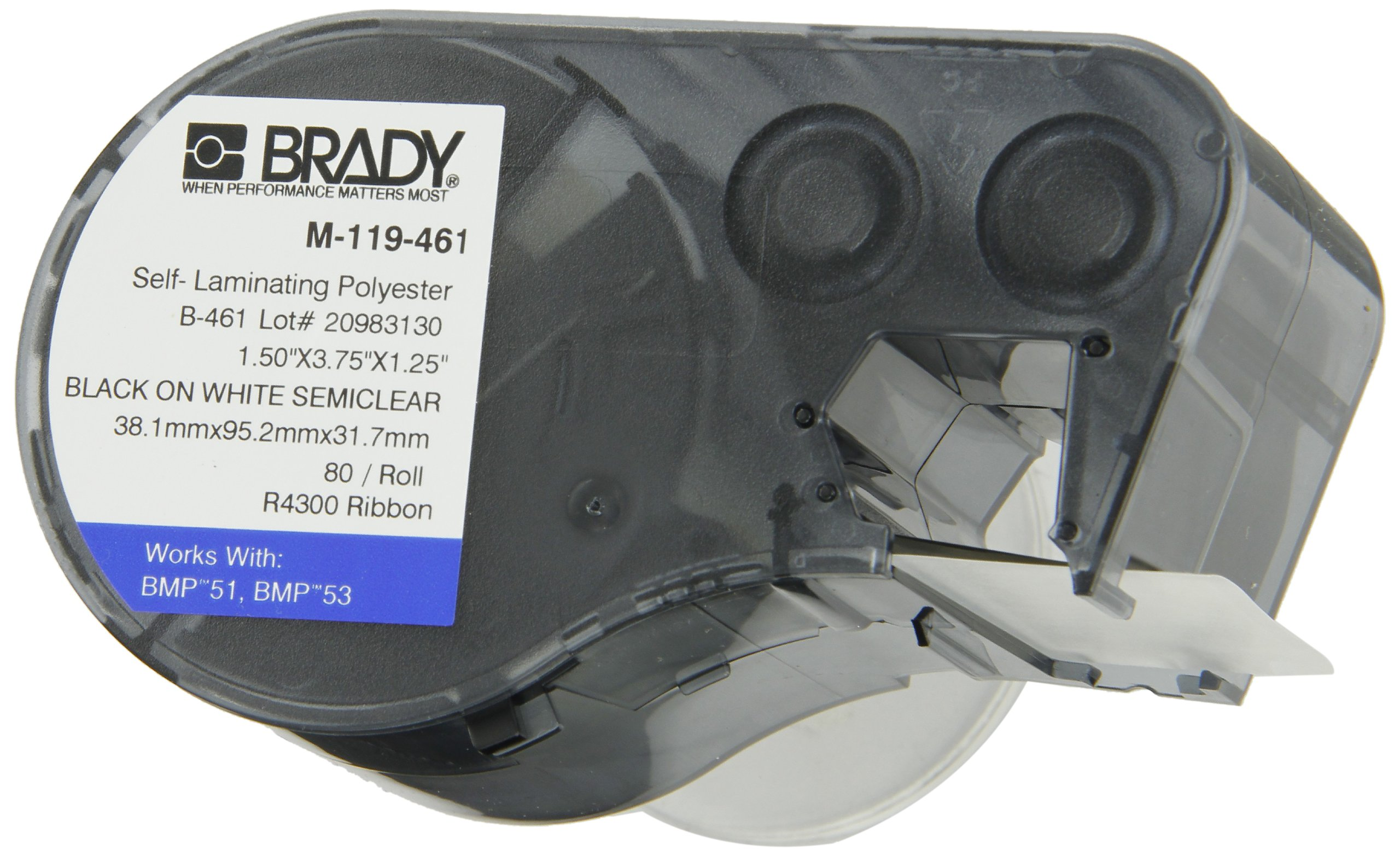 Brady M-119-461 Polyester B-461 Black on White/Clear Label Maker Cartridge, 3-3/4'' Width x 1-1/2'' Height, For BMP51/BMP53 Printers