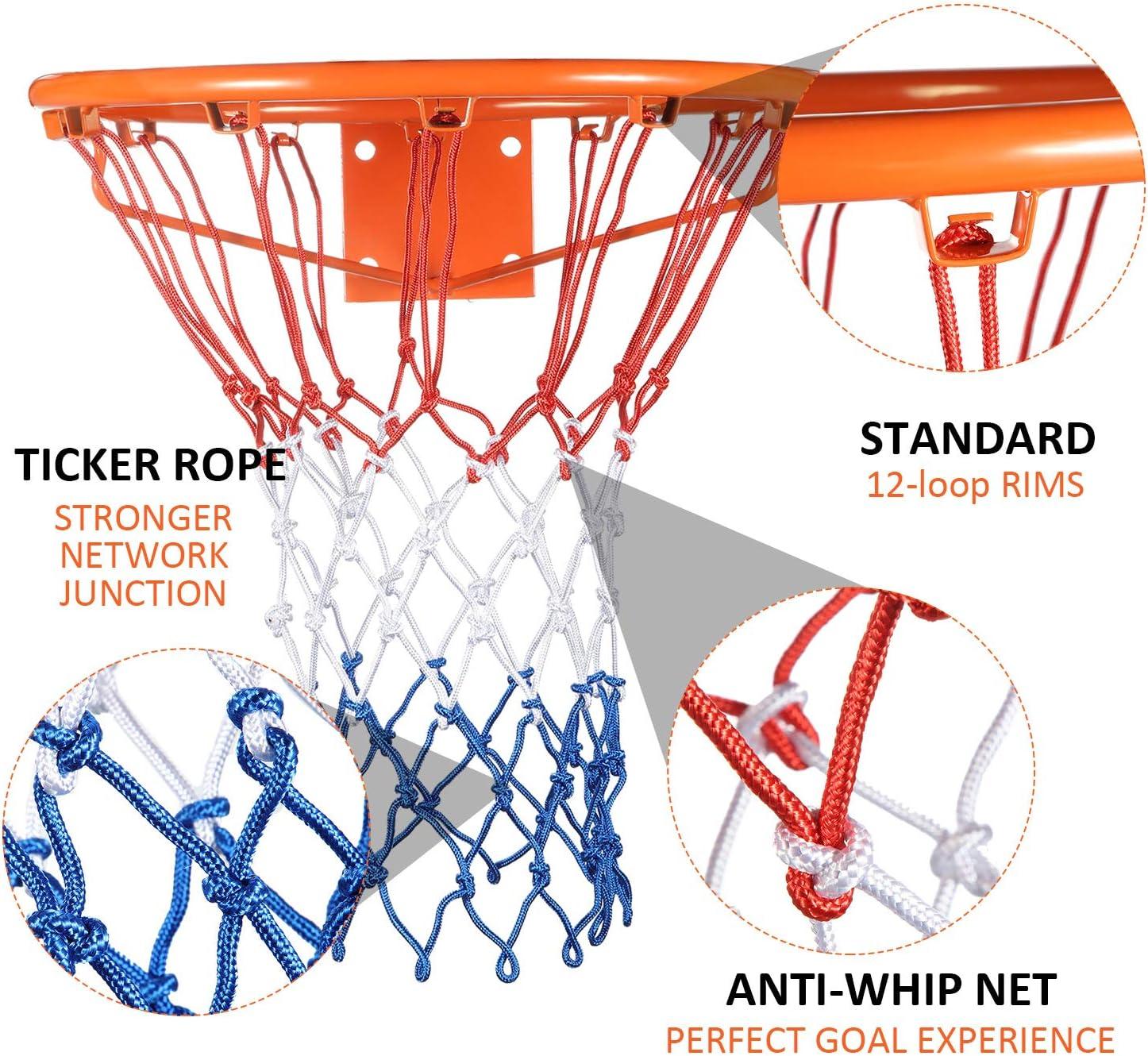 Syhood 2 Paquetes Redes de Canasta Red de Aro de Repuesto para Casi Todo Tiempo Ajuste Aro de Baloncesto Est/ándar Interior o Exterior 12 Bucle