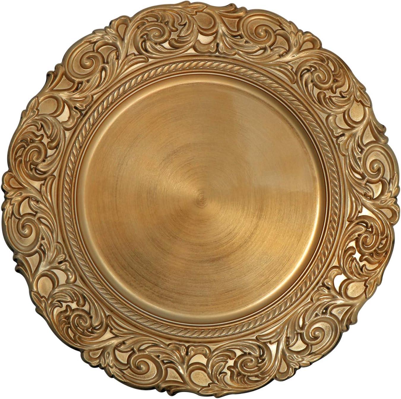 COM-FOUR/® 2x Piatto decorativo in design antico Piatto decorativo per matrimoni e feste di famiglia Piatto corona dAvvento per Natale