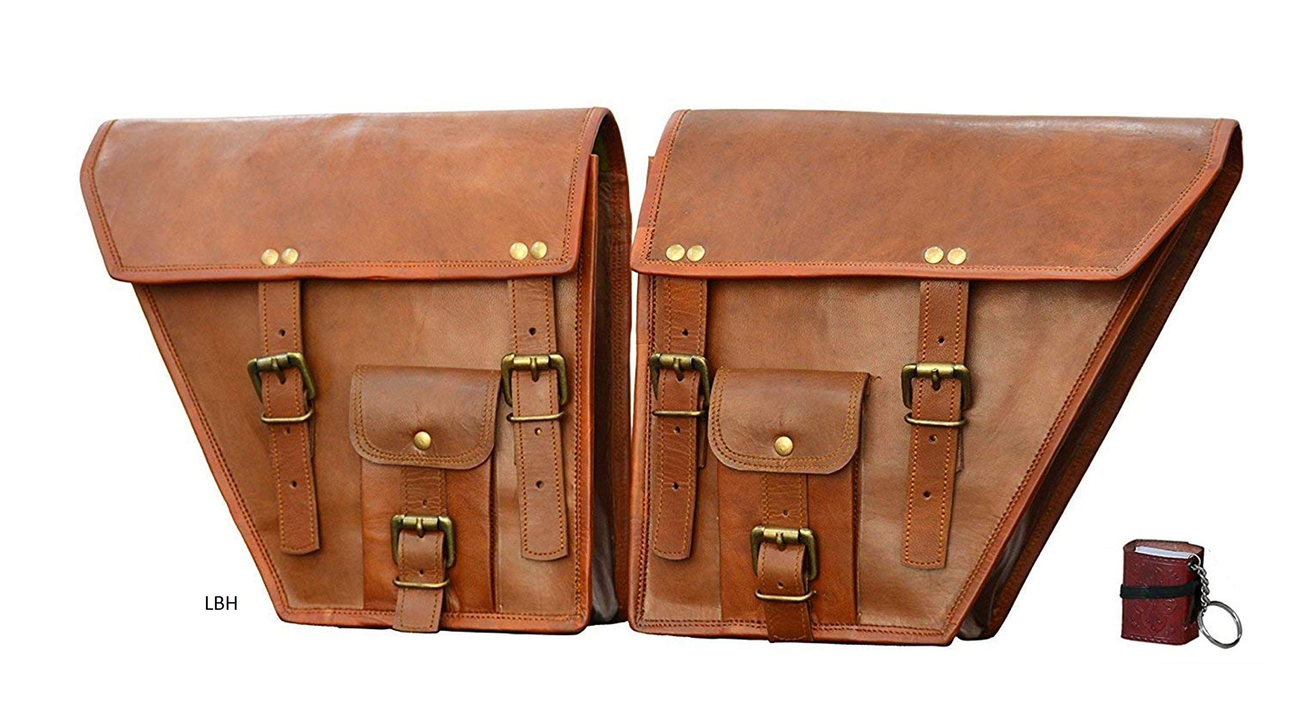 LBH 2 X Motorcycle Side Pouch Brown Leather Side Pouch Classic Saddlebags Saddle Panniers (2 Bags) Summer Sale!` by LBH