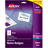 """Avery White Adhesive Name Badges, 2-1/3"""" x 3-3/8"""", Pack of 160 (8395)"""