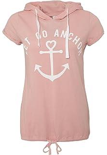 ba6f145474ddb9 Sublevel Damen Anker T-Shirt mit Kapuze | Kurzarm-Shirt Bedruckt im  maritimen Look