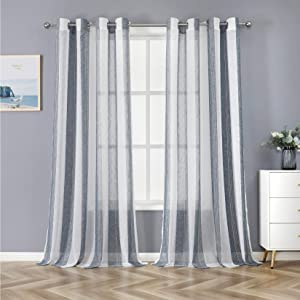 Haperlare Sheer Curtains for Bedroom 84 inches Long, Tailored Vertical Striped Voile Sheer Curtain Grommet Window Curtains Farmhouse Yarn Dyed Woven Linen Textured Window Treatment Set, 2 Panels