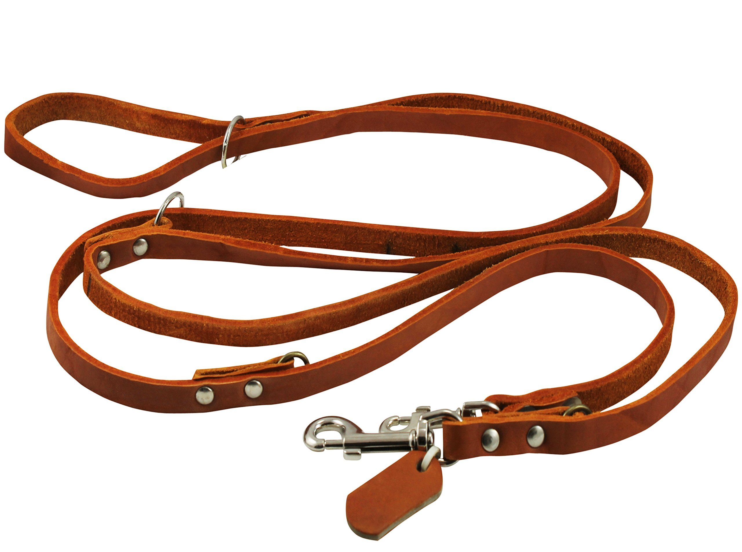 Dogs My Love 6 Way European Multifunctional Leather Dog Leash, Adjustable Schutzhund Lead 49''-94'' Long, 1/2'' Wide (12 mm)