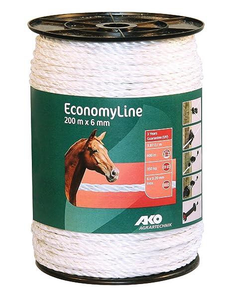 AKO 200m x 6mm- Cordón conductor de pastor eléctrico para instalar en cercados para vacas