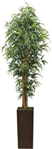 Vintage Home 7 Foot Tall High End Realistic Silk Bamboo Tree with Brown and Bronze Wood Planter