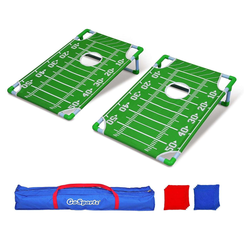 GoSports tragbar PVC gerahmt Cornhole Spiel Set mit 8 Bean Bags und Tragetasche – wählen Sie Amerikanische Flagge Design, Fußball oder Classic rot & blau  Fußball