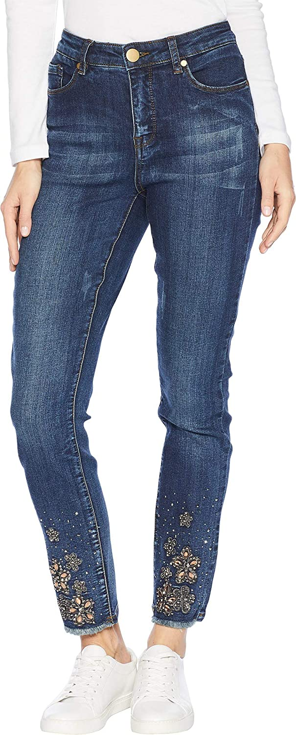 Baltic Wash Tribal Womens FivePocket Jeggings with Bejeweled Hem