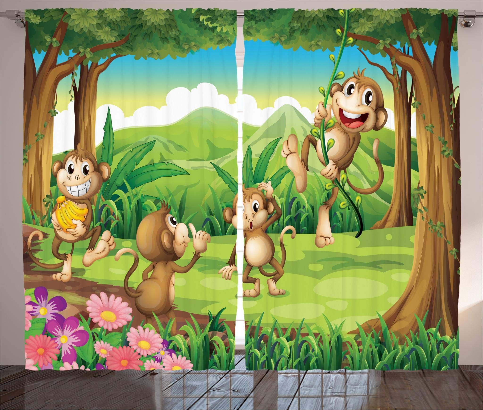 Ambesonne Animal Decor Collection, Digital Dot Featured Monkey Face Portrait with Little Geometrical Rounds Decorative Print, Living Room Bedroom Curtain 2 Panels Set, 108 X 84 Inches, Tan Brown by Ambesonne (Image #1)