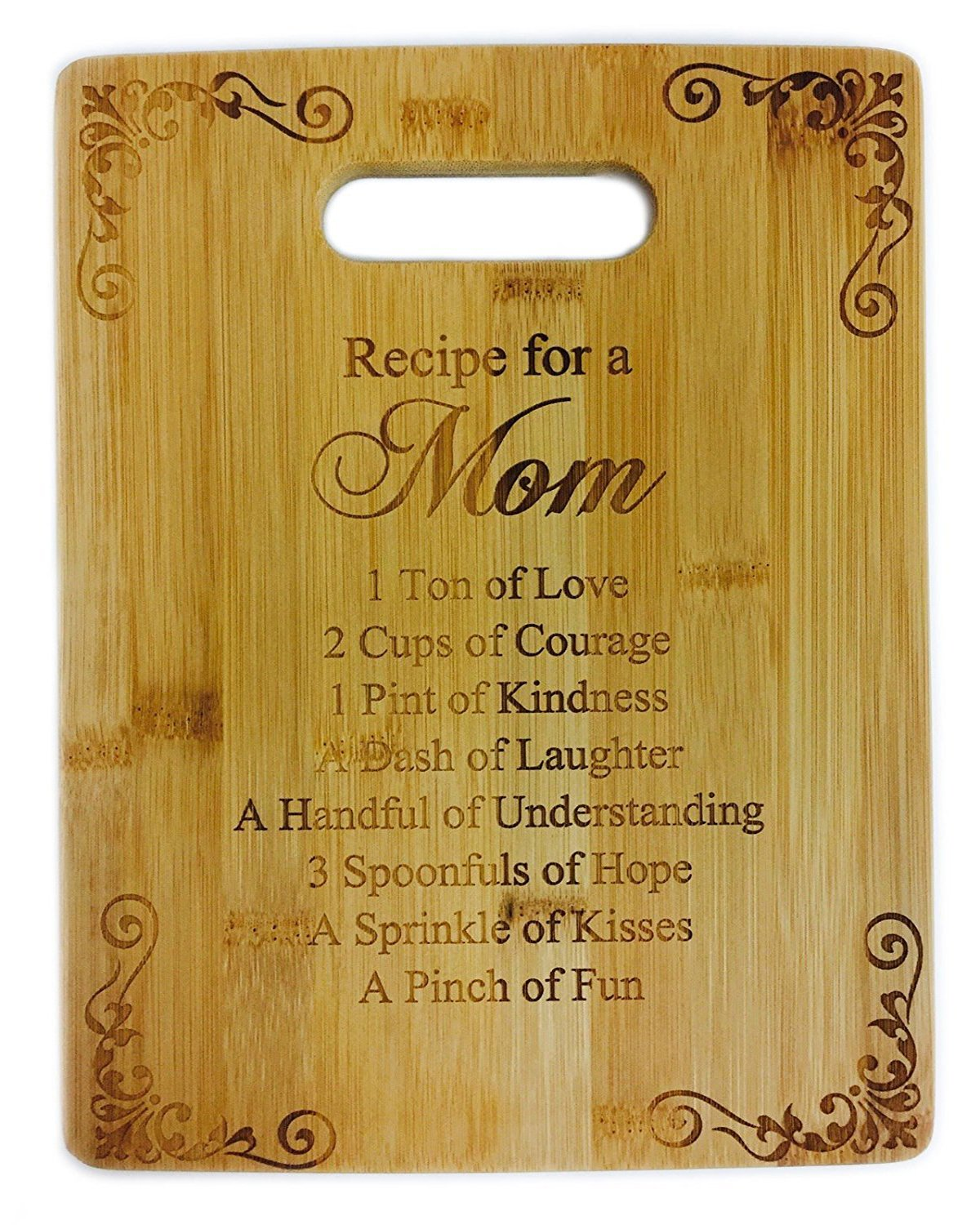 Recipe for a Mom Cute Funny Laser Engraved Bamboo Cutting Board - Wedding, Housewarming, Anniversary, Birthday, Mother's Day, Gift