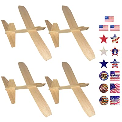 Guillow's Balsa Wood Jetfire Gliders | Wooden Model Airplane Construction Kits | 12-Inch Customizable Unfinished Blank DIY Flying Toy Planes | 4-Pack with 15 Prismatic Patriotic Stickers from KYGON: Toys & Games