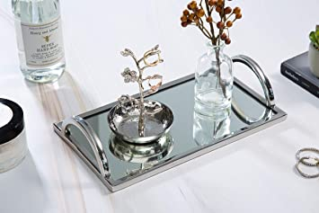 Prime Elegant Silver Mirror Tray With Chrome Edging And Handles Rectangle Vanity Tray Ideal For Ottoman Coffee Table Perfume Set Living Room Beatyapartments Chair Design Images Beatyapartmentscom