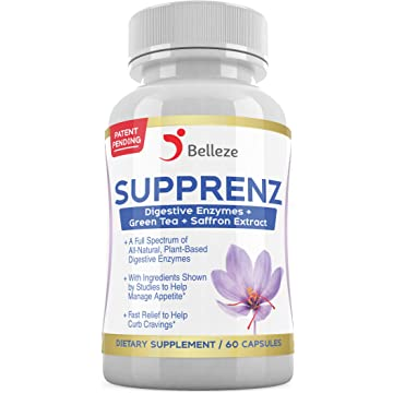 best selling Digestive Enzymes + Appetite Suppressants. Broad Spectrum Plant Based Enzymes + Saffron and Green Tea Extracts. Made in USA. Patent Pending Supprenz