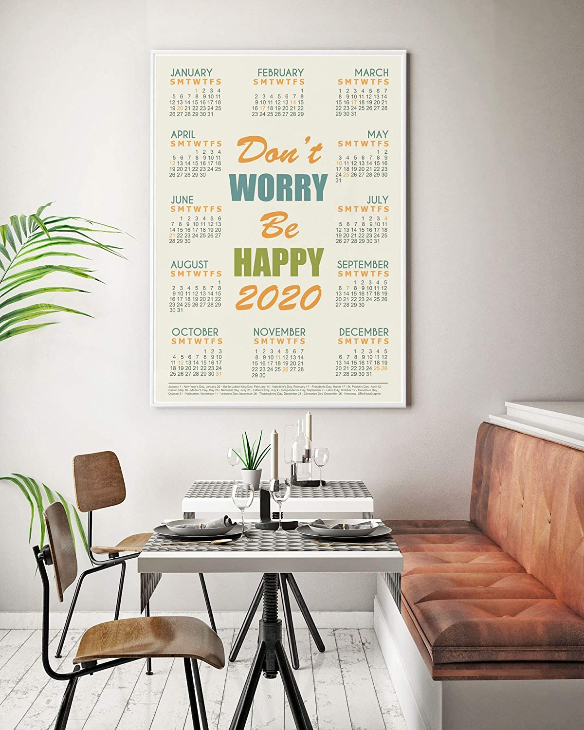 12 Month Inspirational Quote Wall Calendar 2020 Famous Saying Extra Large Art Poster Unframed