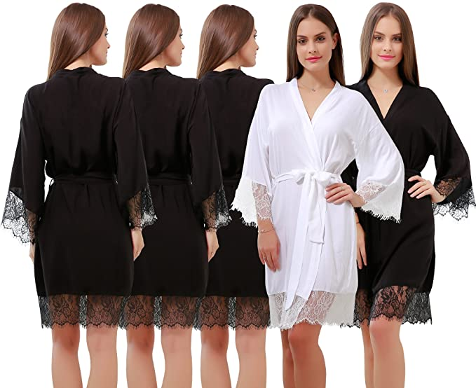 e34992f384a GoldOath Women s Best Cotton Robes Set of 5 Perfect Wedding Party Lace Trim