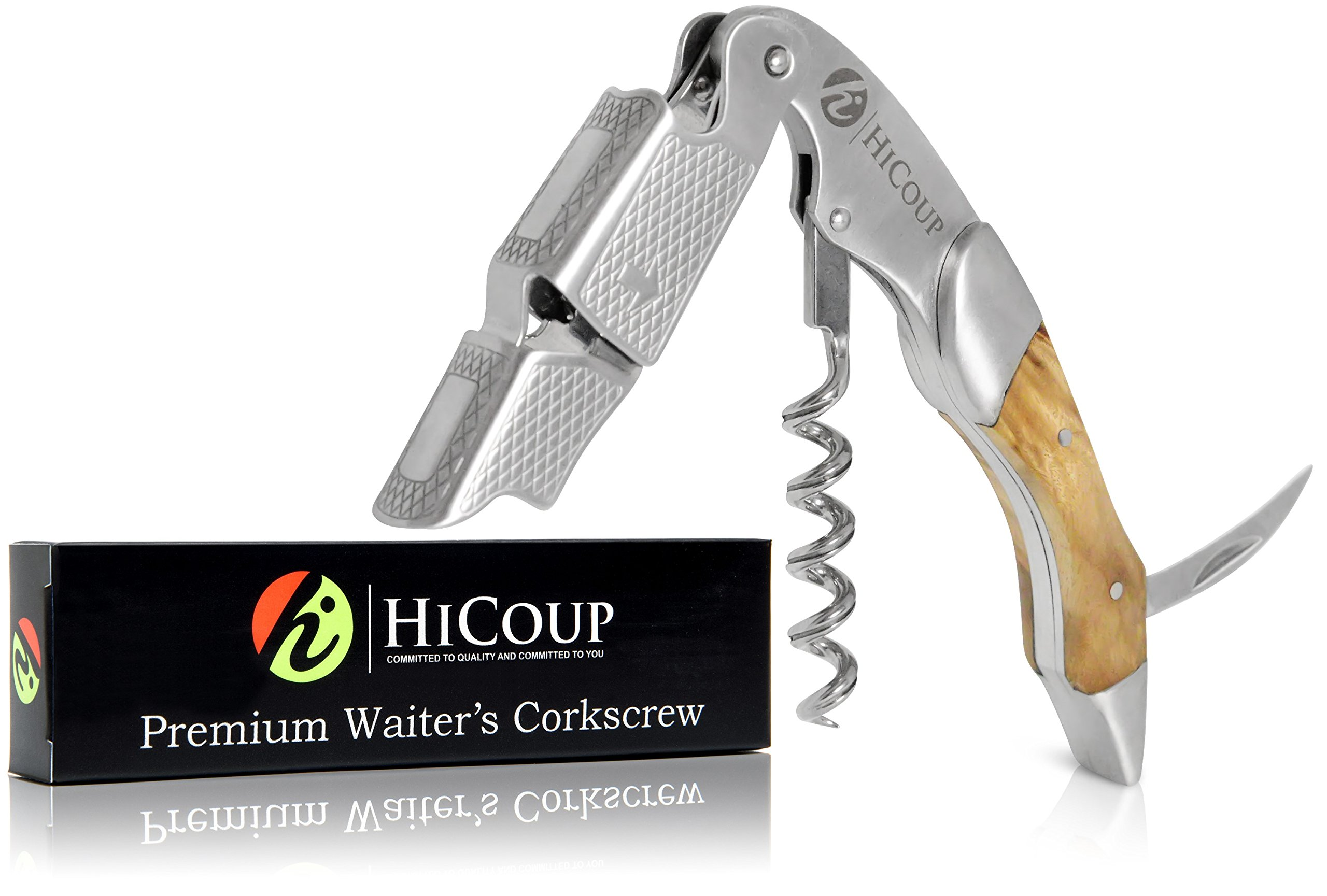 Waiters Corkscrew by HiCoup - Professional Stainless Steel with Bai Ying Wood Inlay All-in-one Corkscrew, Bottle Opener and Foil Cutter, the Favoured Wine Opener of Sommeliers, Waiters and Bartenders