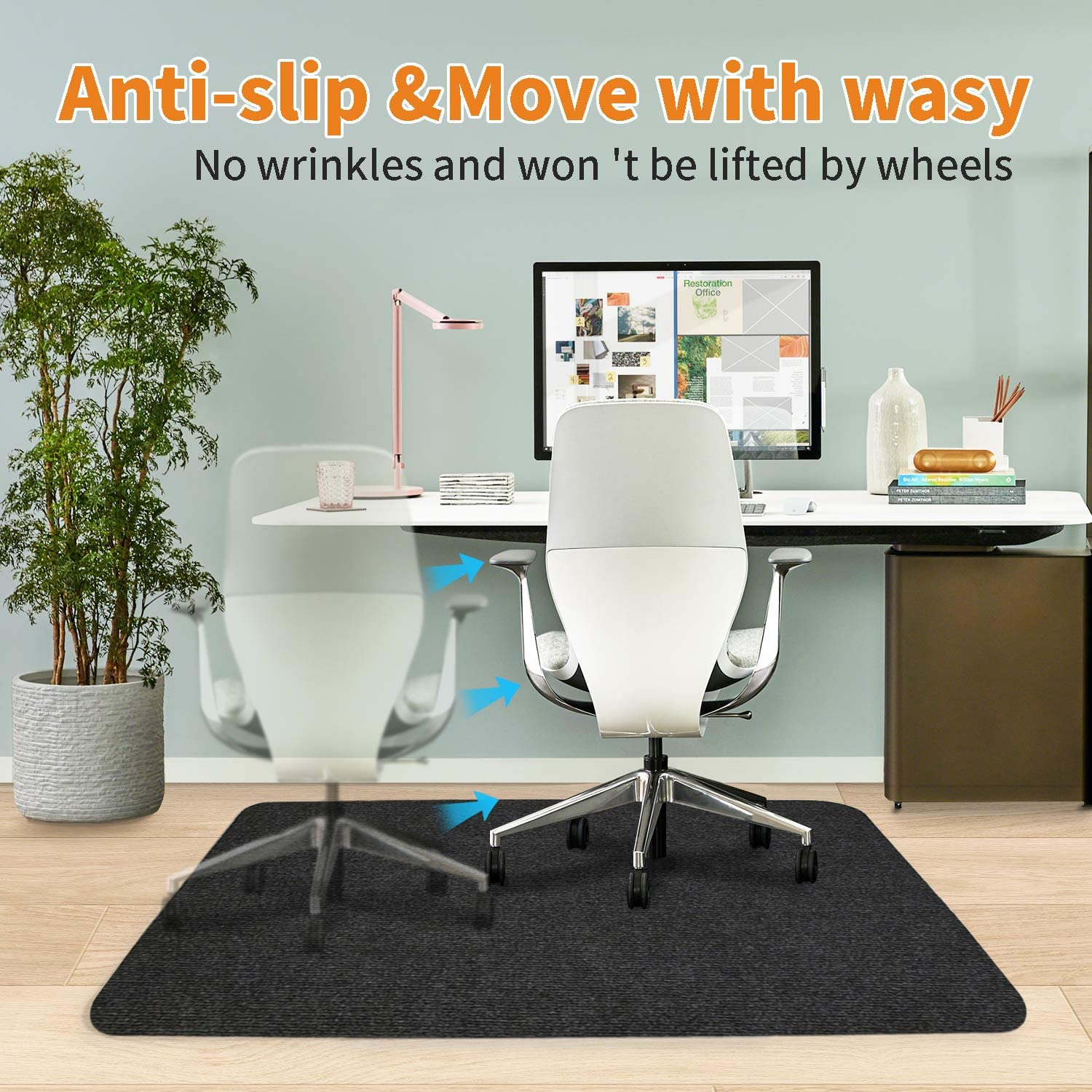 Not for Carpet Dark Gray Office Chair Mat for Hardwood//Tile Floor 55 x 36 Thick Under Hard Floor Protector Desk Mat for Rolling Chair and Computer Desk,Anti-Slip,Non-Curve,Multi-Purpose Rug