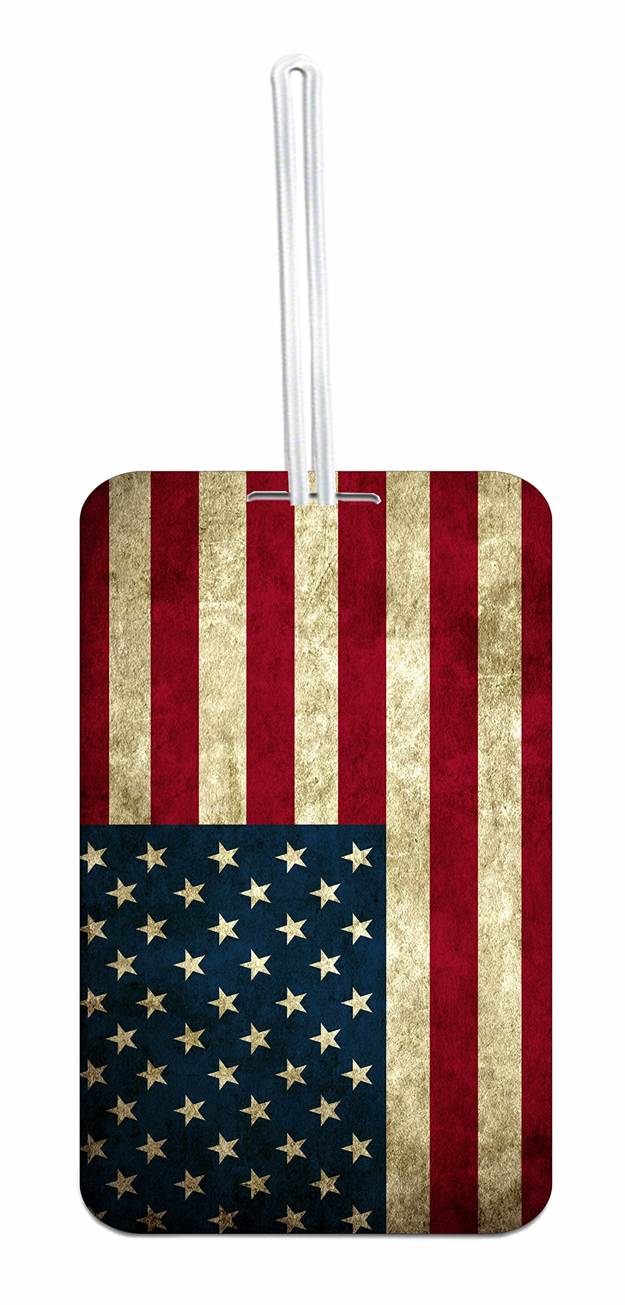 American Flag Hard Plastic Luggage Tag with Personalized Back