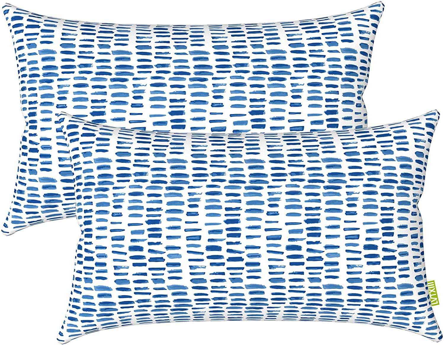 LVTXIII Outdoor/Indoor Lumbar Pillow Covers, Patio Garden Decorative Lumbar Pillow Covers, All Weather Cushion Cases for Sofa, Patio Couch Decoration (12x20inch, 2 Pack, Pebble Blue)