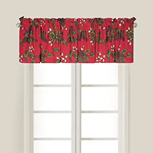 C&F Home Kellyn Red Christmas Xmas Holiday Winter Berry Pinecone Cotton Bedroom Guestroom Premium Window Valance Valance Red