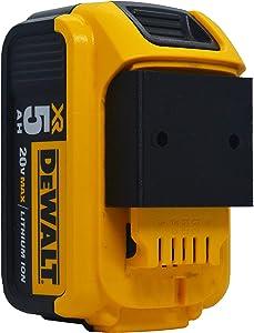 Dewalt 20V MAX Slim Wall Mount - Screw or Ziptie Compatible Battery Holder (4-Pack Black)