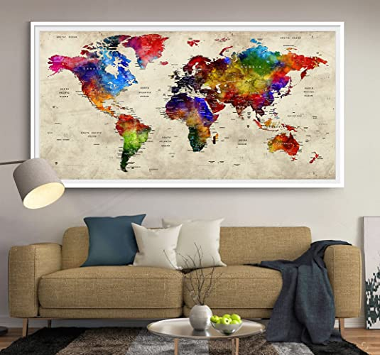 Amazon gift push pin world map poster travel push pin map push pin world map poster travel push pin map gifts for him gumiabroncs Image collections