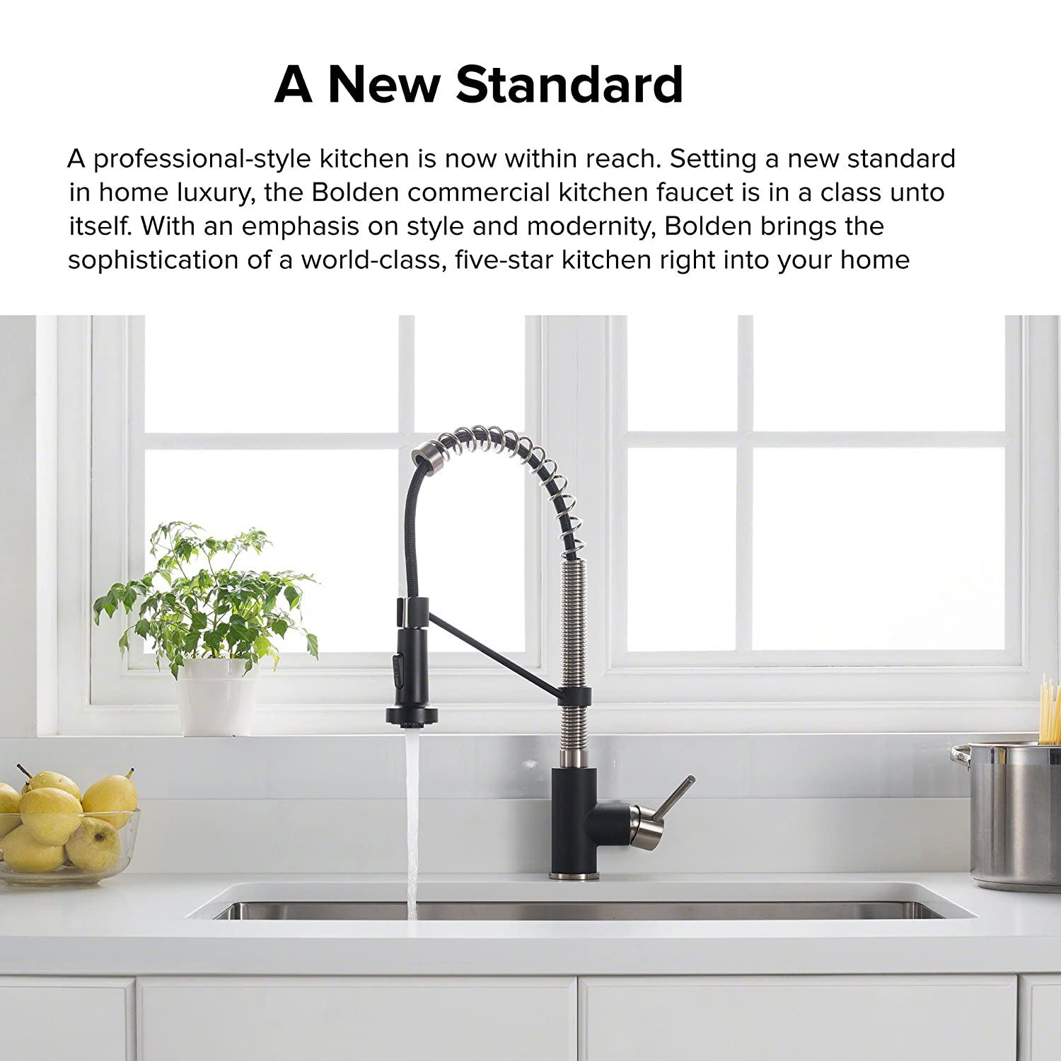 Kraus Kpf 1610ssmb Bolden Single Handle Commercial Kitchen Faucet Parts Diagram For Gourmet 150 450 With Dual Function Pull Down Sprayhead Stainless Steel Matte Black